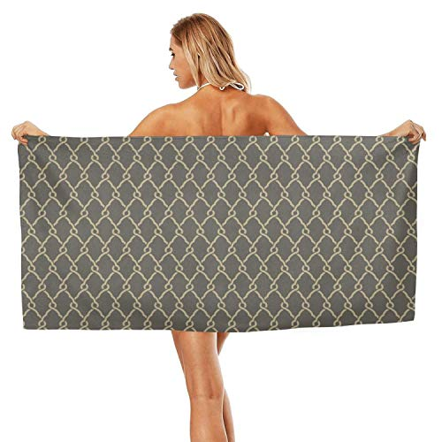 (ZHIDAONNU Unisex Men's Texture Stripe Gray White Design Soft Multipurpose Cute Travel Beach Bath Towel 31.5