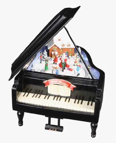Retro Action Musicals by Roman Action Musical Piano with Santa Lighted  8-Inch