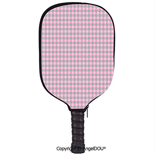 (AngelDOU Floral Lightweight Neoprene Pickleball Paddle/Racket Cover Case Spring Flower Motifs in White and Green Chain Pattern on Pink Background Durable and Portable.Baby Pink Teal White)