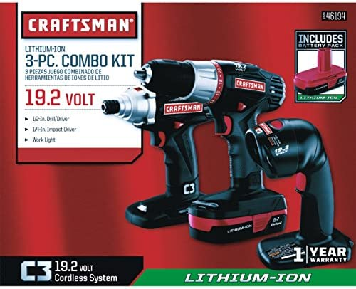 Craftsman 19.2 Li-Ion 3-Pc Combo Kit with Drill Driver, Impact Driver, Work Light, Charger 2 Batteries