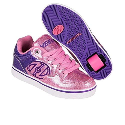 Heelys Motion Plus (770533) - Zapatillas para niños, color Red/Black/Grey/Skulls, talla 31 Morado/rosa con purpurina