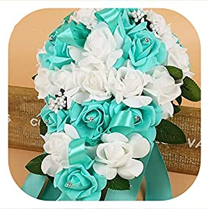 meiguiyuan PE Foam Flower Artificial Bridal Bouquets Crystal Bridesmaid Bridal Wedding Bouquets Water Drop Shaped Turquoise Royal Blue 118