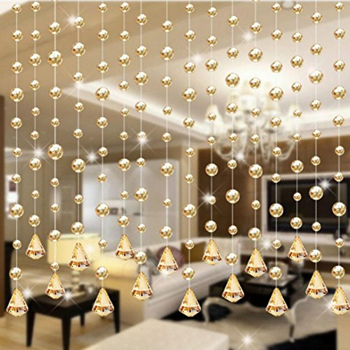 P/b Decorative Glass Doors - Corsion 1 Luxury Glass Beads Door String Tassel Curtain Wedding Divider Panel Room Decor (B)