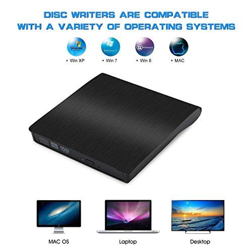 External CD Drive, TeeBeg External DVD Drive USB 3.0 Slim Portable High Speed Data Transfer DVD/CD/Drive/Player/Writer/Burner/Rewriter for Laptop/Macbook/Desktop/MacOS/Windows10/8/7/XP (Black) (Black) by TeeBeg (Image #5)