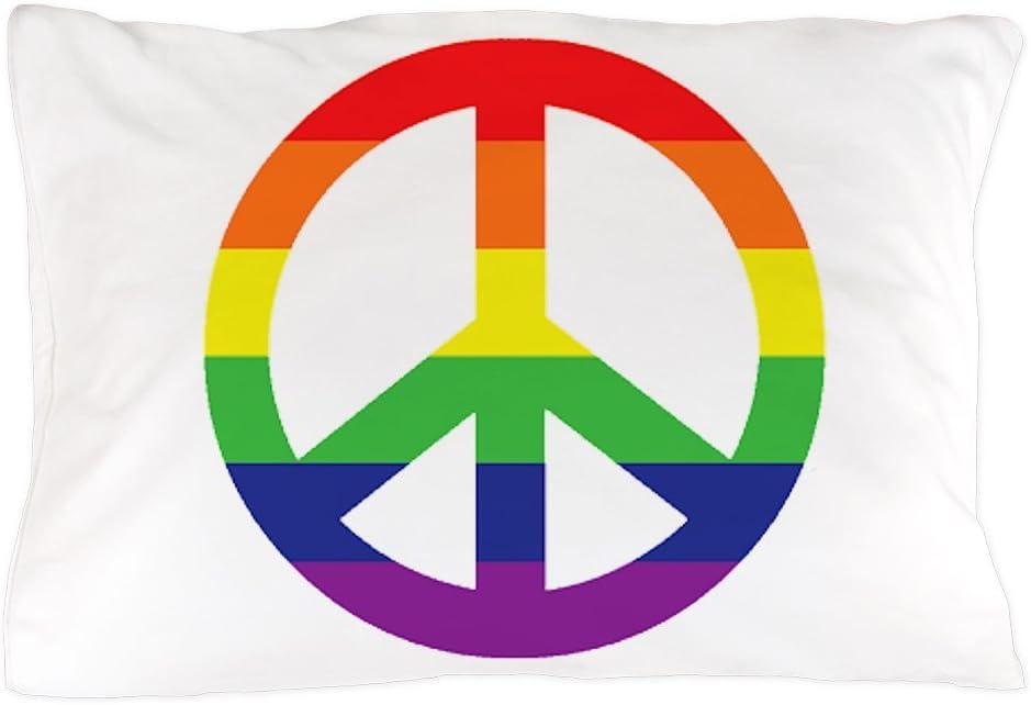 20x30 Pillow Cover CafePress Big Rainbow Stripe Peace Sign Standard Size Pillow Case Unique Pillow Slip