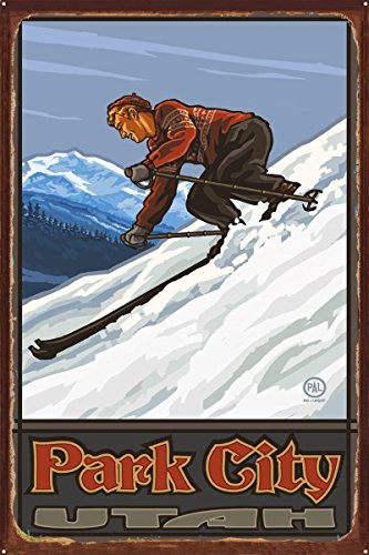 Park City Utah Downhill Skier Man Rustic Metal Art Print by Paul A. Lanquist (24