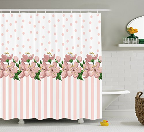 Lunarable Dusty Rose Shower Curtain by, Vintage Retro Design with Polka Dots and Stripes Spring Flora Border, Fabric Bathroom Decor Set with Hooks, 84 Inches Extra Long, Baby Pink Fern Green Pink Stripe Border