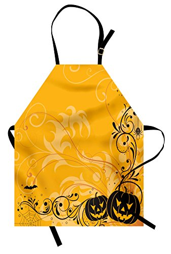 Mother Daughter Horror Costumes Ideas - Ambesonne Halloween Apron, Carved Pumpkins with