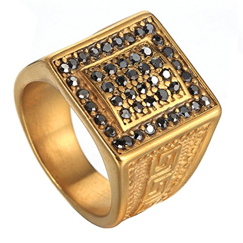 PAURO Men's Stainless Steel Micro Pave Iced Out Cubic Zirconia Hip Hop Gold Ring Vintage Size 10 (Mens Golden Iced Out Rings)