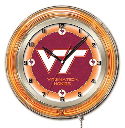 Virginia Tech Hokies HBS Neon Orange College Battery Powered Wall Clock - Tech Neon Clock