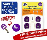 Key Caps Tags - Stretchy All-in-One Key Cover & Tags - ONE SIZE FITS MOST KEYS - Includes Blank Labels and Printed Labels - Key Covers, Name Tags, Identify Tag (PURPLE 8 PACK)