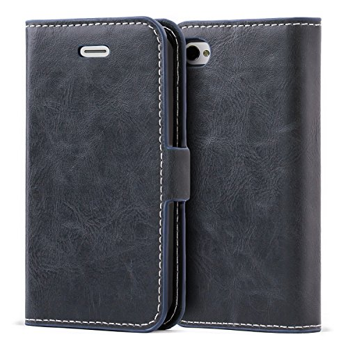 ulbess Vintage Leather Wallet Case with TPU Inner Shell, Magnetized Closure, Card Slots Money Pouch and Stand Feature for Apple iPhone 4 / 4S,Navy Blue ()