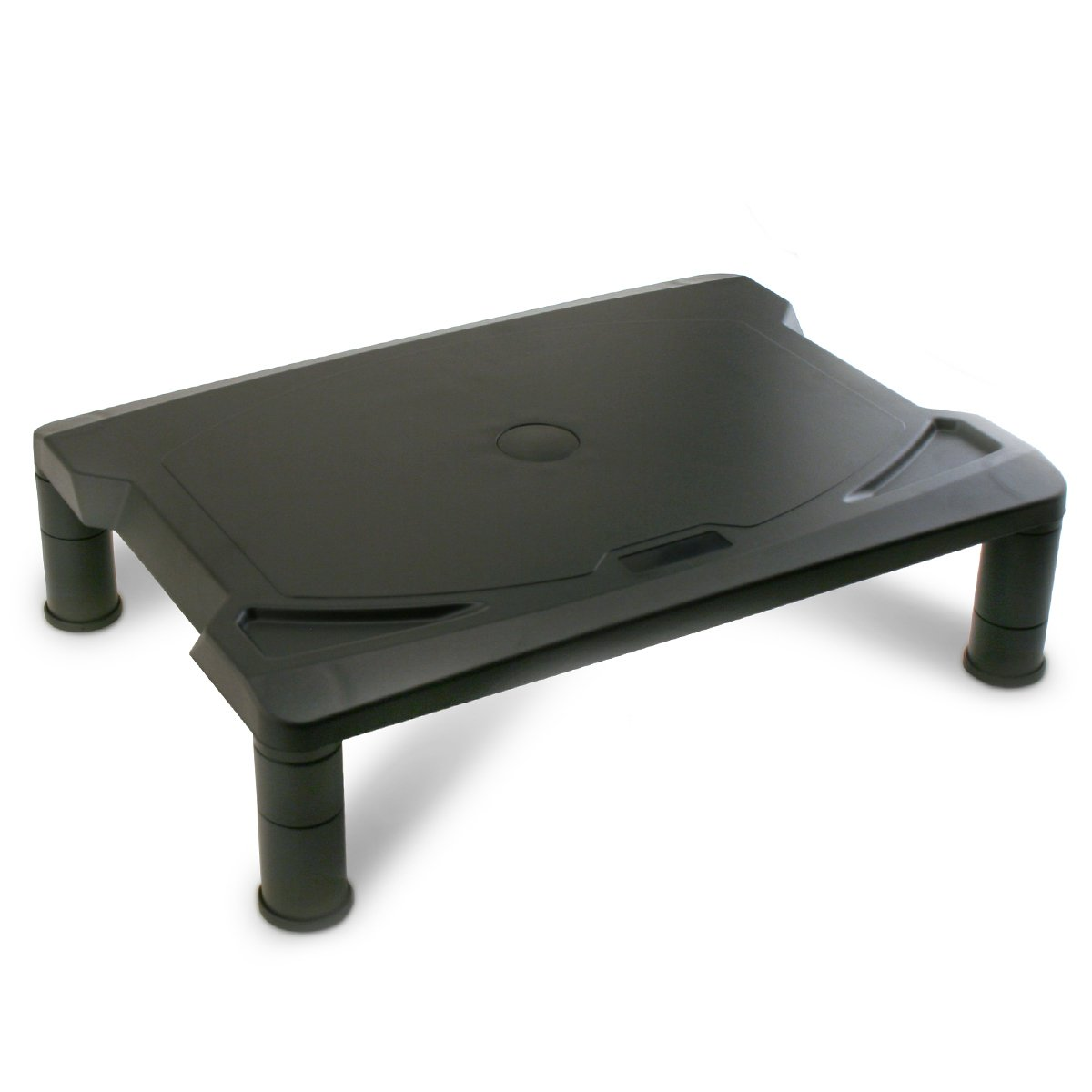 2 Lb. Depot Monitor Stand, Printer Stand with Adjustable 3 Heights Riser, 15.5 x 11.5 Inches, Black Plastic