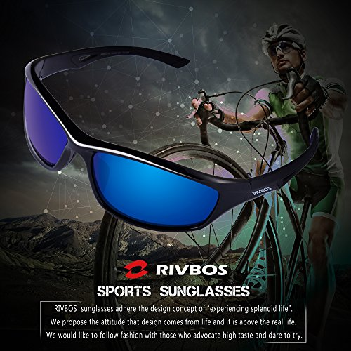 RIVBOS Polarized Sports Sunglasses Driving Glasses for Men Women for Cycling Baseball 842 Black,blue Iced Lens