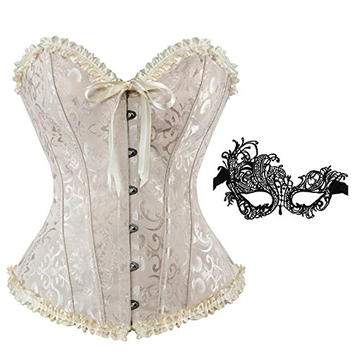 (frawirshau Corsets Women Lace Up Boned Overbust Corset Top Bustier Bodyshaper with Mask Beige)