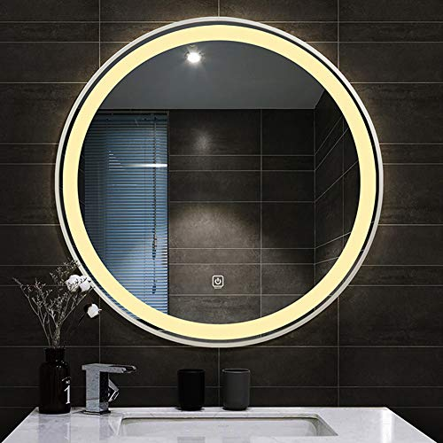 GaoLP Vanity Mirror, 50/60/70/80cm, Bathroom/Shaving Mirror, Round Two-Color Adjustable Led Light Mirror, Touch/Wall Mount/Explosion-Proof/Waterproof