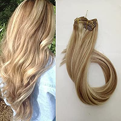 """Hair Extensions 15"""" 18"""" 20"""" 22"""" Clip in Human Hair Pieces 70G Silky Straight Real Hair Extension with Clips, 7 Pcs Per Set"""