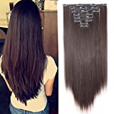 Real Thick Long Straight Clip in 8 Pieces Full Head Set Hair Extensions 8pcs Hairpiece Extension Many Colors (24inches-straight=180G, Dark Brown)
