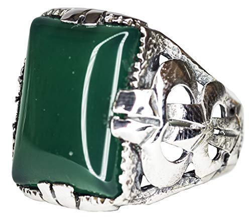 - Falcon Jewelry 925 Sterling Silver Men Chain Byzantine Ring, Jade Natural Stone Men Ring