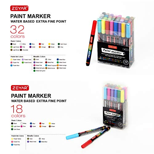 ZEYAR Premium Acrylic Paint Pen, Water Based, Extra Fine Point Tip,18 colors, Opaque Ink, Odorless, Acid Free and Safe to use, Environmental friendly.