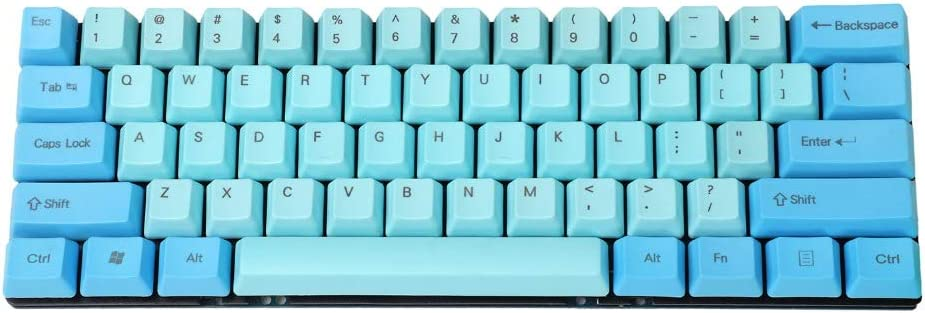 YMDK teclado personalizado 61 ANSI perfil OEM grueso PBT KEYCAP adecuado para Cherry MX interruptores mecánico Gaming Keyboard GK61 (sólo KEYCAP) Azul ...