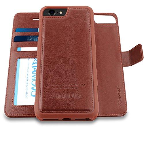 AMOVO Case for iPhone 8 [2 in 1], iPhone 8 Wallet Case [Detachable Folio] Premium Vegan Leather Case for iPhone 8/iPhone 7/iPhone 6 (iPhone 8/7/6 (4.7) Brown)