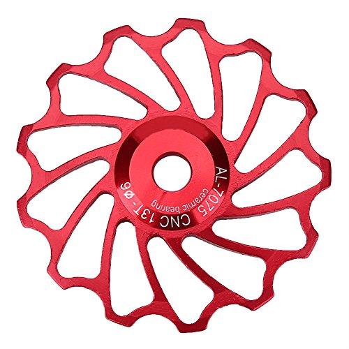 5Colors 13T Road Bike Bicycle Jockey Wheel Ceramic Bearing Rear Derailleur Guide Pulley(Red)