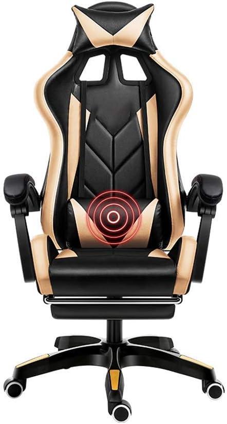 JIEER-C Chair Draaistoel Gaming Chair, Massage Lumbale Ondersteuning Ergonomie Opklapbare Bureaustoel met Voetensteun Racestoel Voor Studentenflat Office, Blauw Zwart