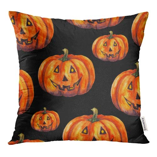 Emvency Orange Arts Watercolor Pumpkins on Jack O Lantern Halloween Yellow Autumn Black Throw Pillow Covers 20x20 Inch Decorative Cover Pillowcase Cases Case Two -