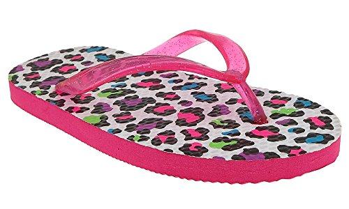 Capelli New York Glitter jelly on leopard printed Girls flip flops White Combo 10/11