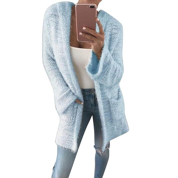 Luoluoluo Abrigos de Mujer Invierno Sudaderas Elegantes Ropa Sudadera de  Señoras con Capucha de Punto Cardigan d70f55081bc1