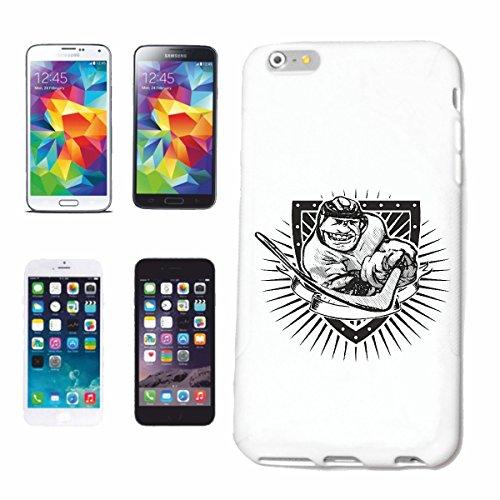 """cas de téléphone iPhone 6+ Plus """"HOCKEY HOCKEY PUCK HOCKEY ÉQUIPE SPORT HOCKEY SUR GLACE BAT"""" Hard Case Cover Téléphone Covers Smart Cover pour Apple iPhone en blanc"""