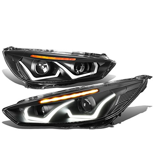 Ford Focus Pair Black Housing Amber Signal Dual U-HALO DRL + LED Turn Signal Projector Headlight - Focus Dual Halo Projector Headlights