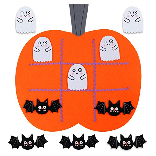 Aytai Halloween Tic Tac Toe Game Felt Pumpkin Shape Travel Games for Kids Educational Toys Halloween Games Festive Harvest Party Decoration Supplies