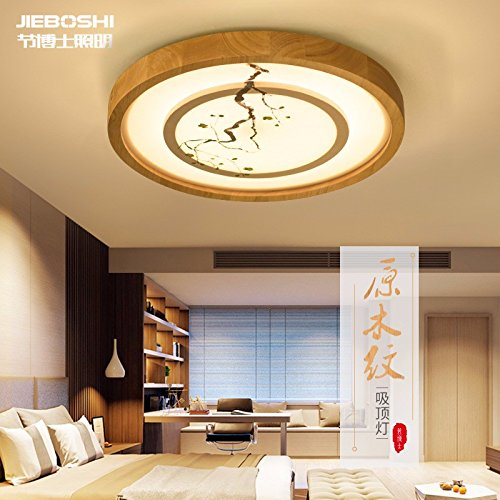 Cttsb Hand painted art Chinese circular solid wood Living room Ceiling light High grade simple creative bedroom Wooden LED Ceiling light - Hand Painted Ceiling Light