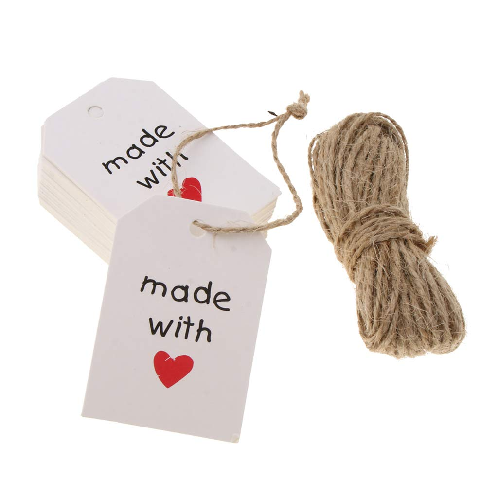 Baoblaze 50pcs Made with Love Paper Hanging Gift Tag Labels for Valentines Day White
