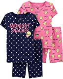 Emoji Clothes for Girls Carter's Girls' 4-Piece Snug Fit Cotton PJS (8, Navy/Pink/Emoji)