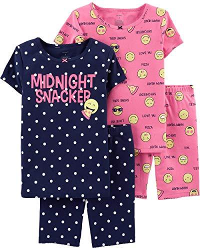 Carter's Girls' 4-Piece Snug Fit Cotton PJS (6, Navy/Pink/Emoji)