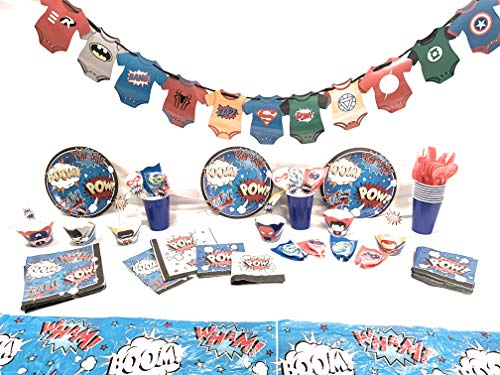 Superhero First Birthday Party Supplies for Boys, Baby Shower for 16 guests includes: Plates, Napkins, Cups, Plastic Cutlery, Tablecloth,Banner, Suckers, Cupcake wrappers and picks(188 -
