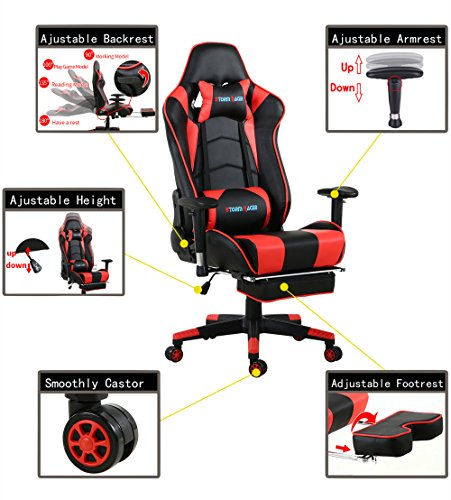 Storm Racer Gaming Chair Ergonomic Racing Style Pu Leather