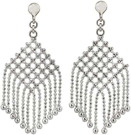 NOVICA .925 Sterling Silver Chandelier Earrings, 'Mandarin Macrame'