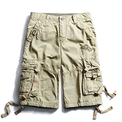 OCHENTA Men's Cotton Loose Fit Multi Pocket Cargo Shorts #3233 Khaki 31 Cotton Cargo Pocket Shorts