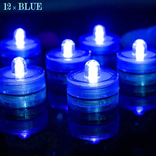 Bright LED Battery Operated Flameless Tea Light, Submersible Tea Candle Waterproof Decorations Underwater Vase Light for Party and Wedding, Pack of 12, Blue - Peace Sign Party Tape
