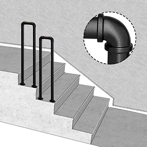 Transitional Wrought Iron Handrail Fits 1 or 2 Steps Matte Black Stair Rail for Indoor//Outdoor Steps Garden Stairs Balustrade,Balcony with Installation Kit