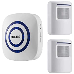WJLING Motion Sensor Alarm, Wireless Home Security Driveway Alarm, Motion Sensor Detect Alert with 2 Sensor and 1 Receiver -38 Chime Tunes - LED Indicators