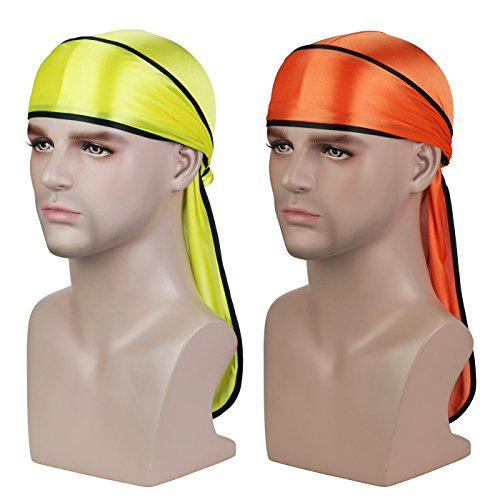 Silky Soft Durag (2PCS) with Extra Long Tail and Wide Straps Headwrap Du-Rag for 360 Waves,Free Size,Yellow Black+orange Black