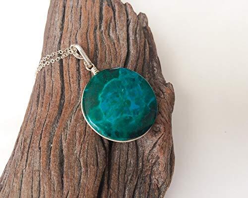 Natural Eilat stone handmade silver pendant, Eilat stone pendant, Natural round Eilat stone, Sterling silver pendant, Blue green shades picture, Eilat silver pendant, Spiritual