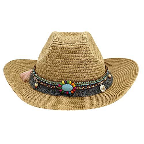 Beach Sun Hats for Women Foldable Under 5 ❤ Men's & Women's Western Style Classic Cattleman Cowboy/Cowgirl Straw Hat