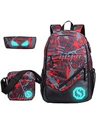 JiaYou Boy 20L Fashion School Bag Backpack with Florescent Mark 3 Sets(Red,20L)