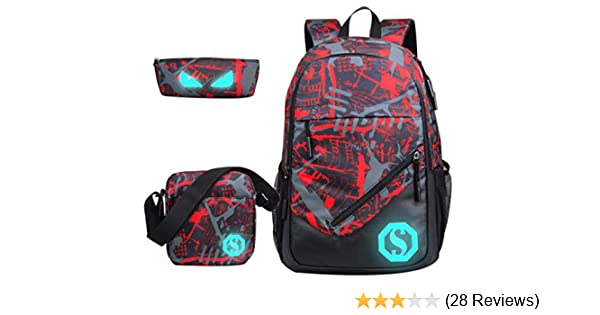 Amazon.com   JiaYou Boy 20L Fashion School Bag Backpack with Florescent  Mark 3 Sets(Red, 20L)   Kids  Backpacks 02ca90fb36